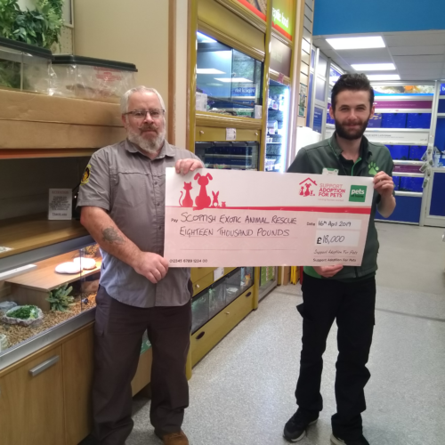 Inverness Pets at Home presenting Scottish Exotic Animal Rescue with £18,000